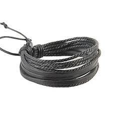 Buy Romp Fashion Black <b>Leather Braided Rope</b> Multilayer <b>Stylish</b> ...