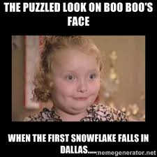 The puzzled look on Boo Boo's face When the first snowflake falls ... via Relatably.com