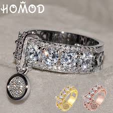 HOMOD 2019 <b>Luxury White Zircon Engagement</b> Ring Vintage Rose ...