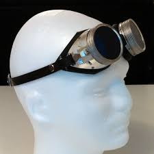 <b>Metal Goggles</b> With Blue Lenses & Rubberized Eye Cups