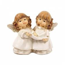 PLA17381 (1-72) <b>Фигурка</b> Две девочки ангелочки 2 вида, 11*<b>6</b>*10см