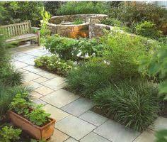 blue stone patio oak park bluestone path stone walls and plants