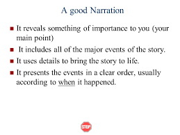 narrative essays what is a narrative essay narratives tell  a good narration it reveals something of importance to you your main point it