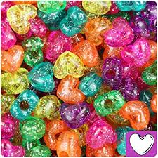 BeadTin Jelly Mix Sparkle 12mm Heart Pony Beads ... - Amazon.com