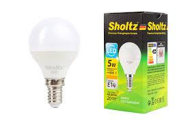 <b>Лампа светодиодная шар SHOLTZ</b> 5Вт E14 3000К 220В