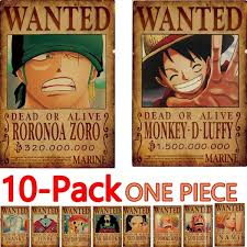 2019 New! Anime Posters 10PCS <b>One Piece Luffy Wanted</b> Poster ...