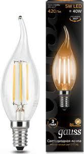 <b>Лампа GAUSS Filament Свеча</b> на ветру E 14 5W 2700 K 104801105