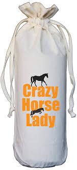 Natural Cotton Drawstring Wine Bottle Bag <b>Crazy Horse Lady</b>