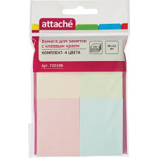 <b>Стикеры Attache</b> 38х51 мм пастельные 4 цвета, 4 блока по 25 ...