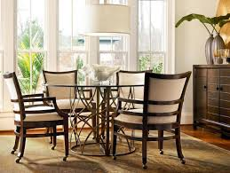 Glass Dining Room Tables Round Tropical Appealing Bright Dining Room Design With Round Glass Top
