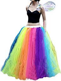 CoutureBridal Women <b>Long</b> Tutu <b>Rainbow</b> Tulle Skirts Performance ...