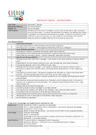 montessori teacher resume