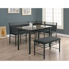three piece dining set: grey marble charcoal metal  piece dining set