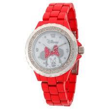 Women's Disney Minnie <b>Mouse Enamel</b> Sparkle Red <b>Alloy</b> Watch ...