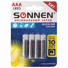 Батарейки <b>КОМПЛЕКТ 4</b> шт., SONNEN Alkaline, AAA (LR03 ...