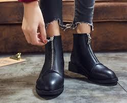 Sales Wholesales Booties Female Autumn 2019 New Front Zipper ...