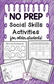 no prep social skills for older students activities social speech time fun work on social skills upper elementary students and older this
