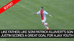 justin kluivert scores first professional goal for ajax jong video thumbnail patrick kluivert s son justin scores great goal for ajax u19s