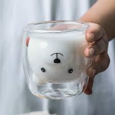 <b>250ML Creative</b> Bear <b>Coffee Mug</b> Cute Animal Double Glass <b>Coffee</b> ...