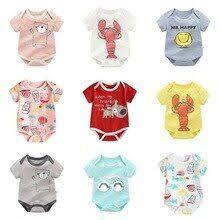 <b>Summer</b> Thin Cotton Short-sleeved Cartoon Printed Romper Infant ...