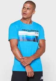 Buy New Balance Blue <b>Graphic Heathertech T</b>-shirt for Men in ...