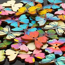 Pack of 50 Multi Color Butterflies Buttons-Mixed Wood ... - Amazon.com