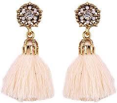 Harmily 1 Pair Bohemian Vintage <b>Long</b> Drop Tassel <b>Earrings</b> ...