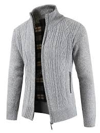 Men's Thick Sweater Stand Collar Cardigan Jacket Sale, Price ...