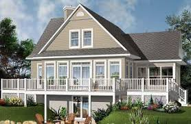 Home Plans and House Designs   Walkout Basement from    Pocono A Frame Rustic Country Cottage  family rooms  beds