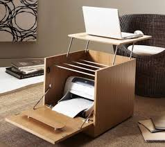 home office minimalist luxury furniture ergonomic wooden box laptop desk design with storage space for printer awesome elegant office furniture concept