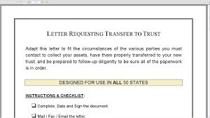 letter requesting transfer to trust letter requesting transfer to trust
