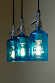 pendant light from etched glass seltzer water bottle clear or blue 5 blown glass bottle pendant