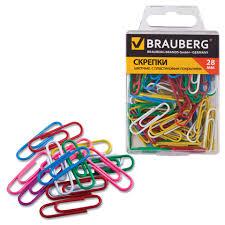 <b>Скрепки BRAUBERG 28 мм</b> цветные, 100 шт.