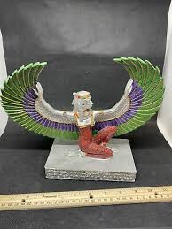 <b>Goddess</b> Isis Maat Resin Statue Egyptian Beautiful Green <b>Red And</b> ...