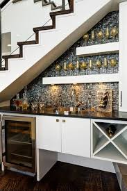 modern stair design with mini black mini bar home wrought