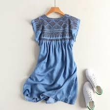 <b>summer women</b> Tencel <b>denim dress</b> high waist pleated sleeveless ...