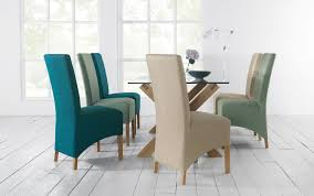 Teal Dining Room Chairs Nina Oak Amp Teal Fabric Wing Back Dining Chairs