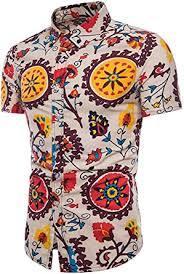 Emaor <b>Men's</b> Stylish <b>Floral Long</b> Sleeve Shirt & Short Sleeve Shirt at ...