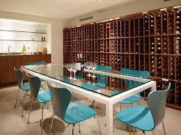 series 7 chairs in blue create a cool wine tasting room design ehrlich architects arched table top wine cellar furniture