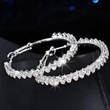 Fashion Oversize Circle <b>Geometric Crystal</b> Round Hoop Earring ...