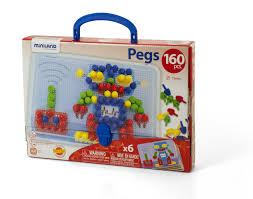 Развивающая <b>Мозаика Miniland Pegs</b> 15 мм (160 элементов 6 ...