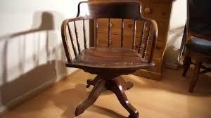 antique oak captains desk chair swivel height tilt adjustable antique swivel office chair