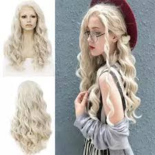 <b>Women's Fashion</b> Front lace Wig Beige Synthetic Hair Long Wigs ...