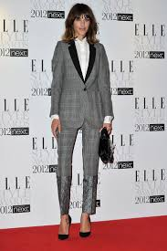 england style steps: alexa chung steps out in a plaid stella mccartney suit for the elle style awards