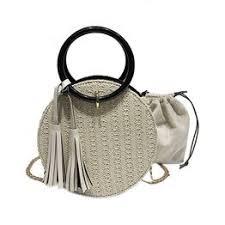 Women Handmade Round Beach Shoulder Bag Circle Straw ... - Vova