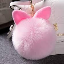 <b>Faux Pink Rabbit</b> Ear Keychain Pompom <b>Fur</b> Cartoon Ball ...
