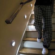 absolutely nicking this lighting idea wireless led stair lights yeah i definitely noticed the jammies and slippers absolutely nicking lighting idea