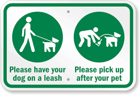 Image result for must leash dog signs