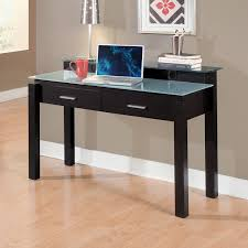 wonderful black varnishes rectangle oak wood office desk with tempered glass top equipped double drawers using adorable glass top office