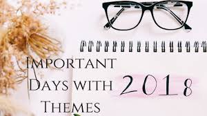 Complete List of Important Days with Themes 2018 PDF | Day Today ...